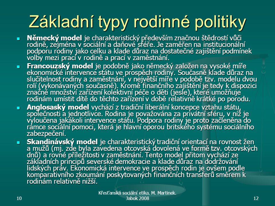 10 Křesťanská sociální etika. M. Martinek. Jabok 200812 Základní typy rodinné politiky Německý model je charakteristický především značnou štědrostí v