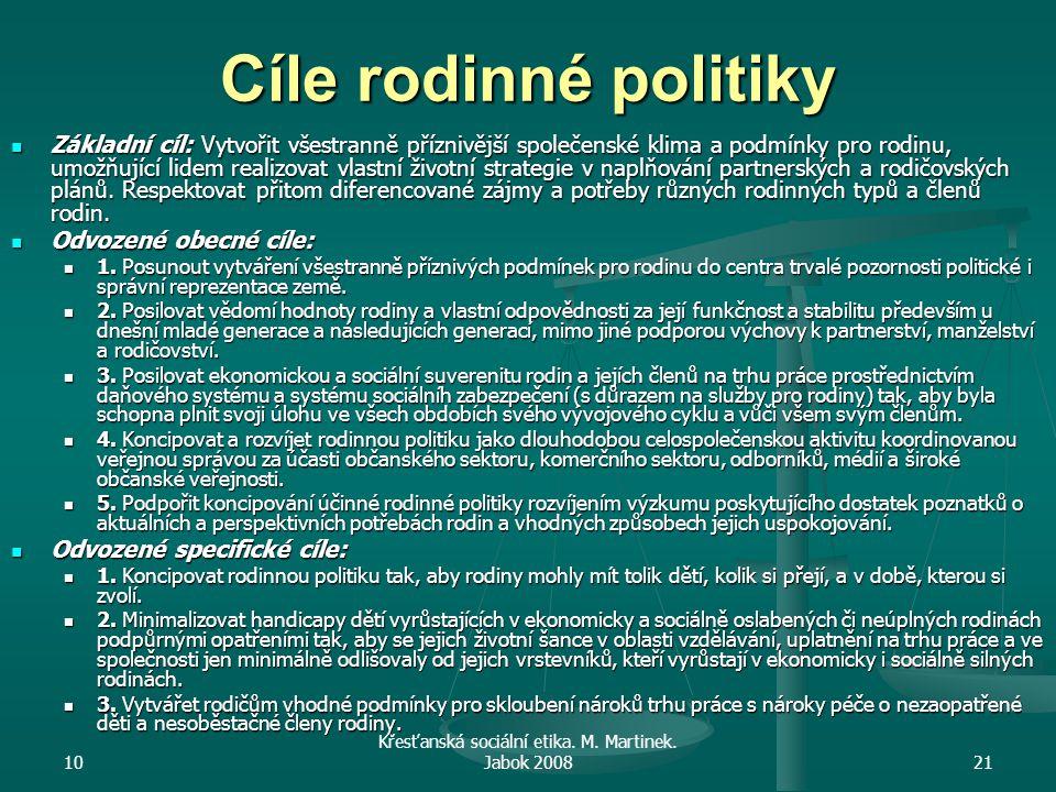 10 Křesťanská sociální etika. M. Martinek. Jabok 200821 Cíle rodinné politiky Základní cíl: Vytvořit všestranně příznivější společenské klima a podmín