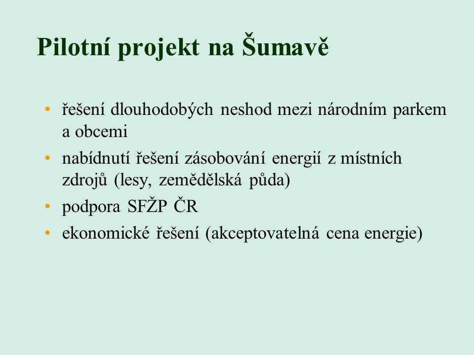 Pilotní projekt na Šumavě řešení dlouhodobých neshod mezi národním parkem a obcemi nabídnutí řešení zásobování energií z místních zdrojů (lesy, zemědělská půda) podpora SFŽP ČR ekonomické řešení (akceptovatelná cena energie)
