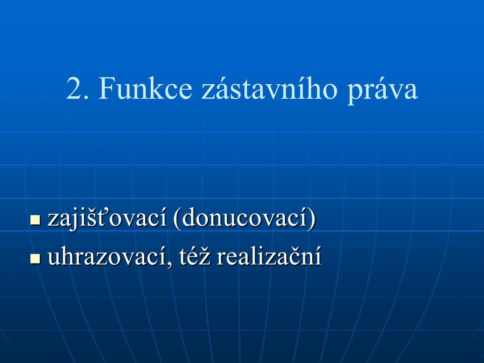 2. Funkce zástavního práva zajišťovací (donucovací) zajišťovací (donucovací) uhrazovací, též realizační uhrazovací, též realizační