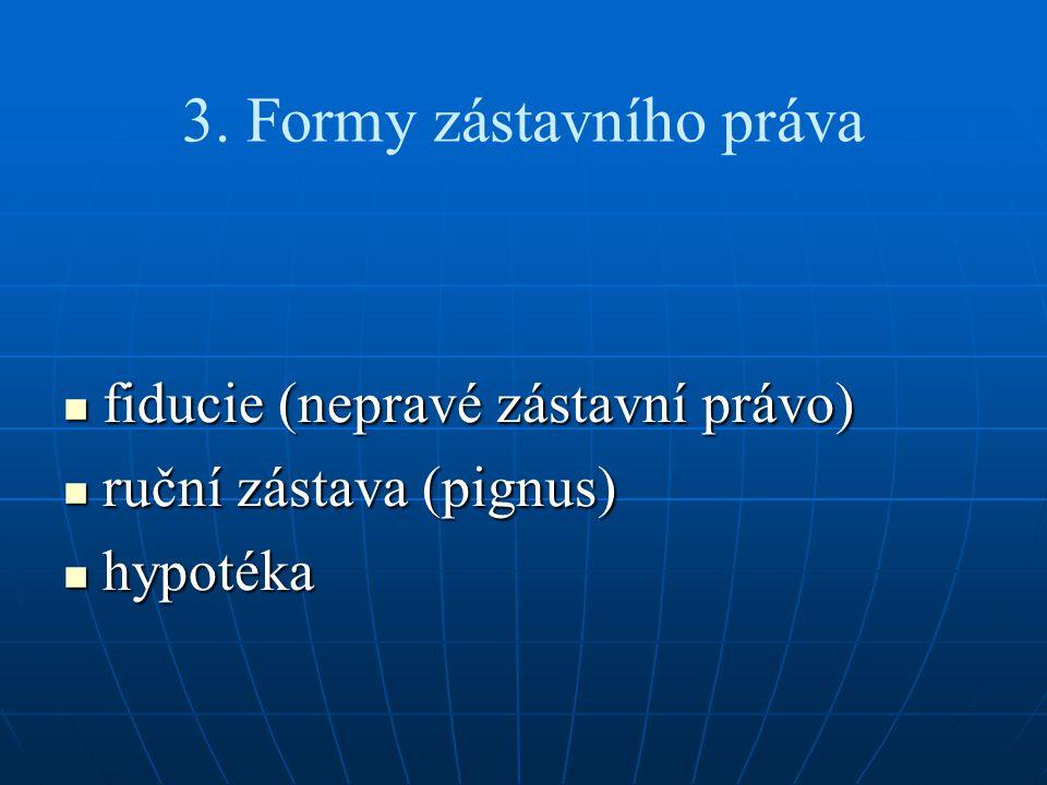 3. Formy zástavního práva fiducie (nepravé zástavní právo) fiducie (nepravé zástavní právo) ruční zástava (pignus) ruční zástava (pignus) hypotéka hyp