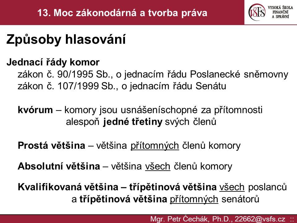 Mgr. Petr Čechák, Ph.D., 22662@vsfs.cz :: 13. Moc zákonodárná a tvorba práva Způsoby hlasování Jednací řády komor zákon č. 90/1995 Sb., o jednacím řád
