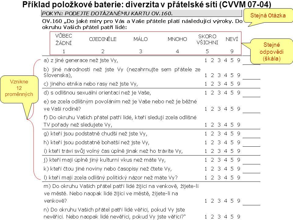 Příklad položkové baterie: diverzita v přátelské síti (CVVM 07-04) Stejná o tázka Stejné odpovědi (škála) Vznikne 12 proměnných