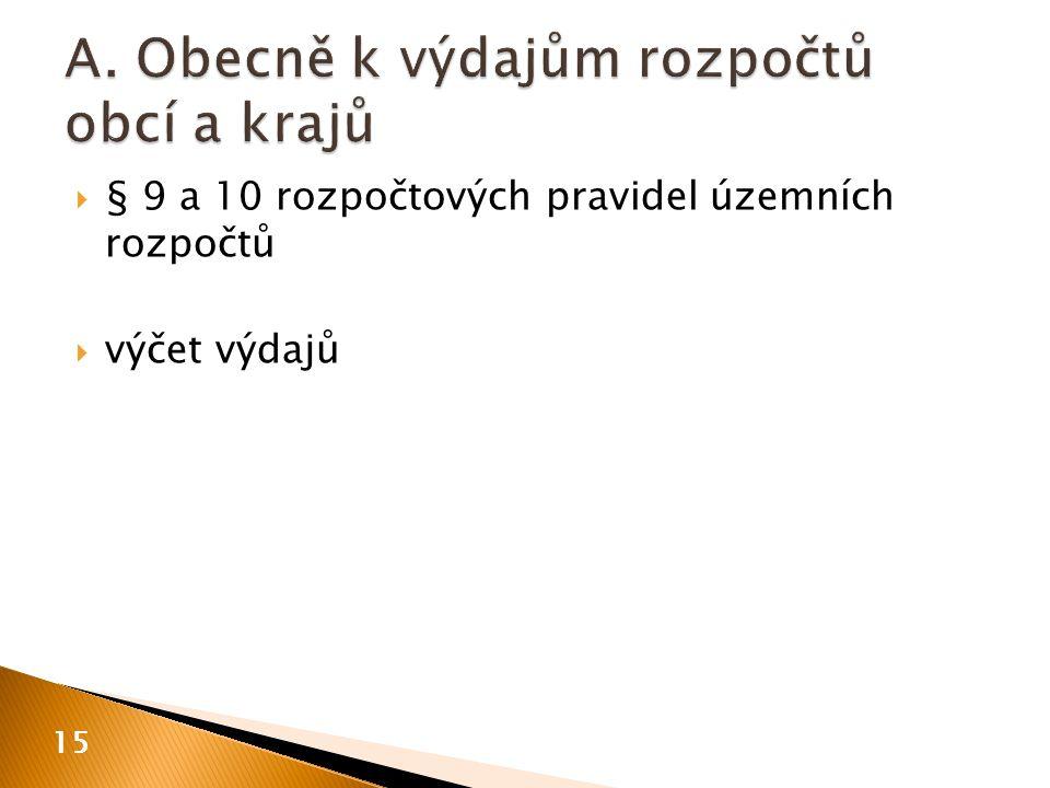  § 9 a 10 rozpočtových pravidel územních rozpočtů  výčet výdajů 15