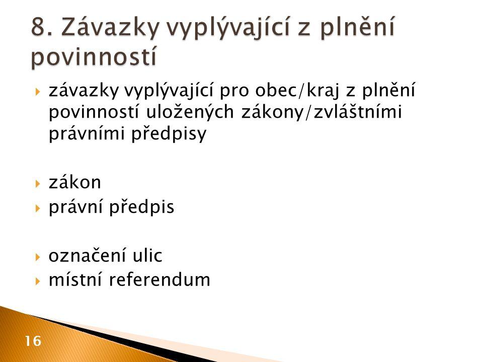  závazky vyplývající pro obec/kraj z plnění povinností uložených zákony/zvláštními právními předpisy  zákon  právní předpis  označení ulic  místní referendum 16