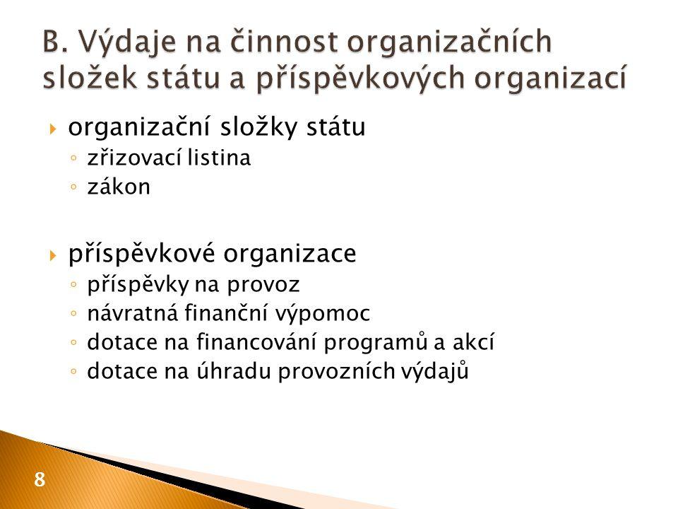  organizační složky státu ◦ zřizovací listina ◦ zákon  příspěvkové organizace ◦ příspěvky na provoz ◦ návratná finanční výpomoc ◦ dotace na financování programů a akcí ◦ dotace na úhradu provozních výdajů 8
