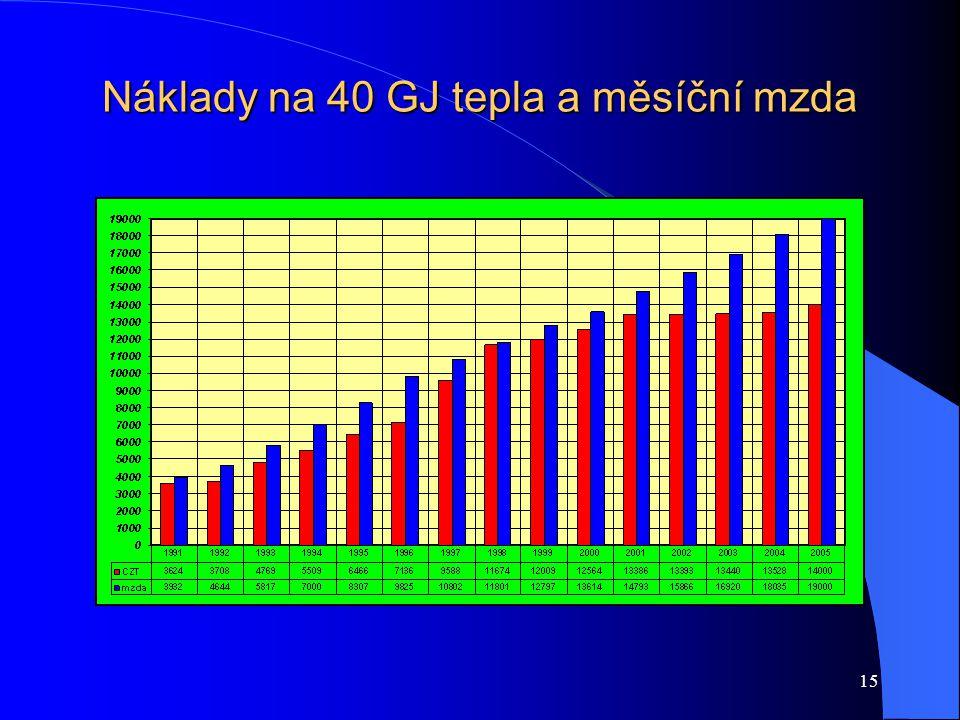 15 Náklady na 40 GJ tepla a měsíční mzda