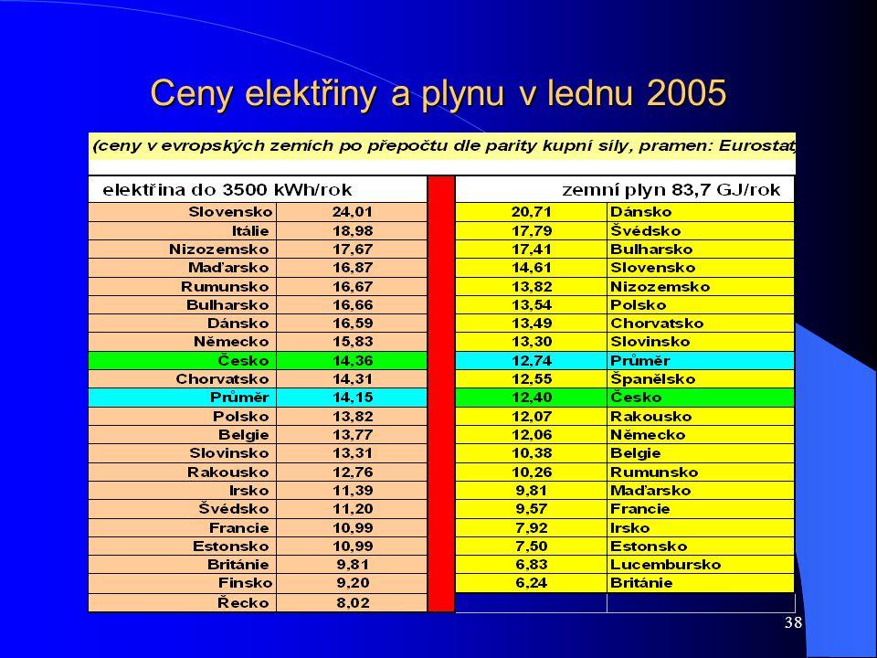 38 Ceny elektřiny a plynu v lednu 2005