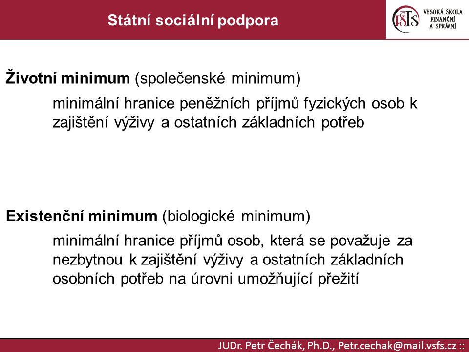 JUDr. Petr Čechák, Ph.D., Petr.cechak@mail.vsfs.cz :: Státní sociální podpora Životní minimum (společenské minimum) minimální hranice peněžních příjmů