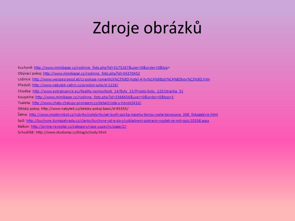 Zdroje obrázků Kuchyně: http://www.mimibazar.cz/rodinne_foto.php id=3175267&user=0&order=0&typ=http://www.mimibazar.cz/rodinne_foto.php id=3175267&user=0&order=0&typ Obývací pokoj: http://www.mimibazar.cz/rodinne_foto.php id=34370452http://www.mimibazar.cz/rodinne_foto.php id=34370452 Ložnice: http://www.weissesroessl.at/cz-pokoje-romantick%C3%BD-hotel-4-hv%C4%9Bzdi%C4%8Dkov%C3%BD.htmhttp://www.weissesroessl.at/cz-pokoje-romantick%C3%BD-hotel-4-hv%C4%9Bzdi%C4%8Dkov%C3%BD.htm Předsíň: http://www.nabytek-catrin.cz/predsin-julie/d-1226/http://www.nabytek-catrin.cz/predsin-julie/d-1226/ Chodba: http://www.extrainzerce.eu/Reality-nemovitosti_14/Byty_15/Prodej-bytu_120/stranka_51http://www.extrainzerce.eu/Reality-nemovitosti_14/Byty_15/Prodej-bytu_120/stranka_51 Koupelna: http://www.mimibazar.cz/rodinne_foto.php id=3368656&user=0&order=0&typ=3http://www.mimibazar.cz/rodinne_foto.php id=3368656&user=0&order=0&typ=3 Toaleta: http://www.chaty-chalupy-pronajem.cz/detail/cista-u-horek3410/http://www.chaty-chalupy-pronajem.cz/detail/cista-u-horek3410/ Dětský pokoj: http://www.nabytek.cz/detsky-pokoj-basic/d-95355/ Šatna: http://www.modernibyt.cz/rubriky/celebrity/jak-bydli-spicka-naseho-tenisu-iveta-benesova_308_fotogalerie.htmlhttp://www.modernibyt.cz/rubriky/celebrity/jak-bydli-spicka-naseho-tenisu-iveta-benesova_308_fotogalerie.html Spíž: http://kuchyne.dumazahrada.cz/clanky/kuchyne-od-a-do-z/uskladneni-potravin-vyplati-se-mit-spiz-20358.aspxhttp://kuchyne.dumazahrada.cz/clanky/kuchyne-od-a-do-z/uskladneni-potravin-vyplati-se-mit-spiz-20358.aspx Balkon: http://prima-receptar.cz/category/vase-uspechy/page/2/http://prima-receptar.cz/category/vase-uspechy/page/2/ Schodiště: http://www.studiomp.cz/blog/schody.html