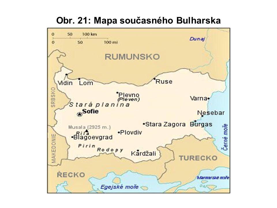 Obr. 21: Mapa současného Bulharska
