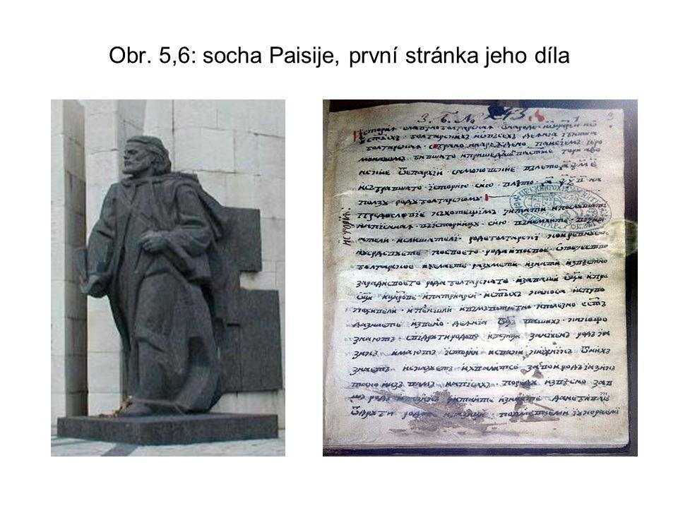 Obr. 5,6: socha Paisije, první stránka jeho díla