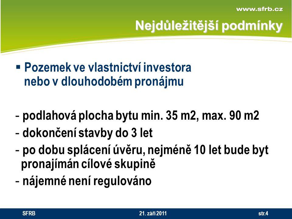 Nejdůležitější podmínky  Pozemek ve vlastnictví investora nebo v dlouhodobém pronájmu - podlahová plocha bytu min. 35 m2, max. 90 m2 - dokončení stav