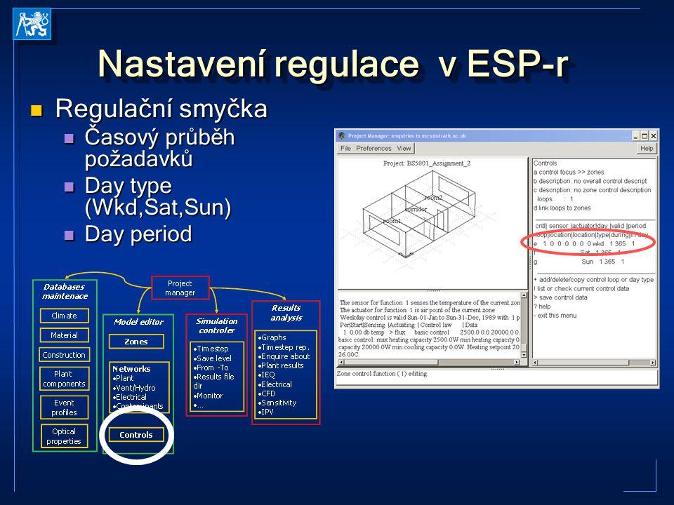 Nastavení regulace v ESP-r Regulační smyčka Regulační smyčka Časový průběh požadavků Časový průběh požadavků Day type (Wkd,Sat,Sun) Day type (Wkd,Sat,