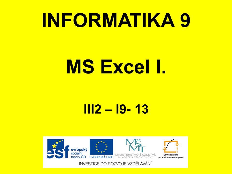 INFORMATIKA 9 MS Excel I. III2 – I9- 13