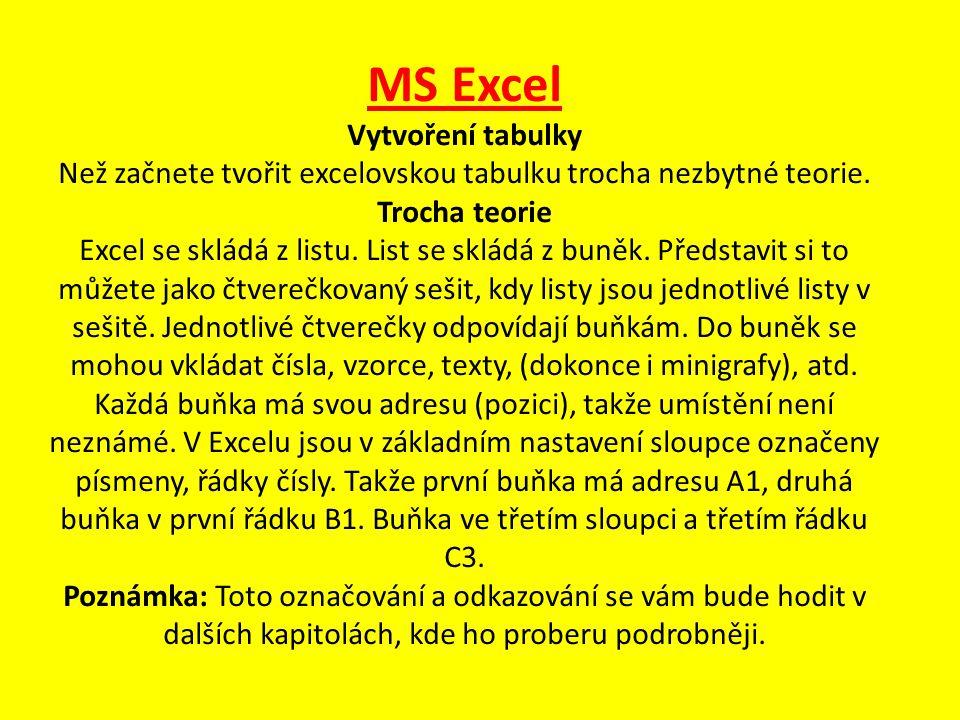 MS Excel Vytvoření tabulky Než začnete tvořit excelovskou tabulku trocha nezbytné teorie.