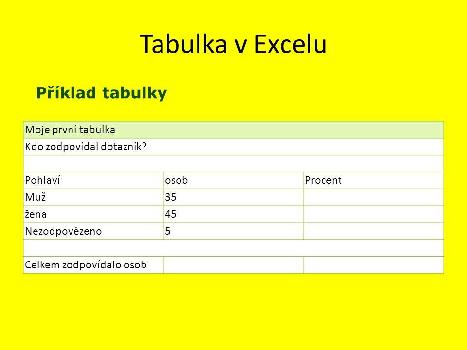 Tabulka v Excelu Moje první tabulka Kdo zodpovídal dotazník.