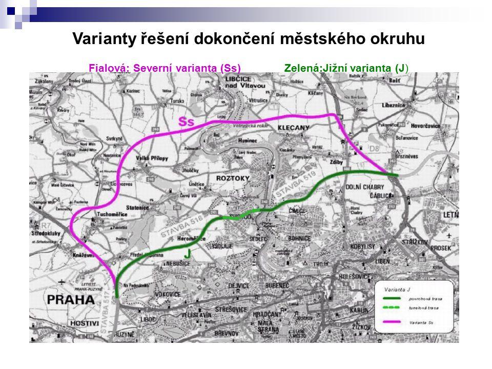 Varianty řešení dokončení městského okruhu Fialová: Severní varianta (Ss) Zelená:Jižní varianta (J)