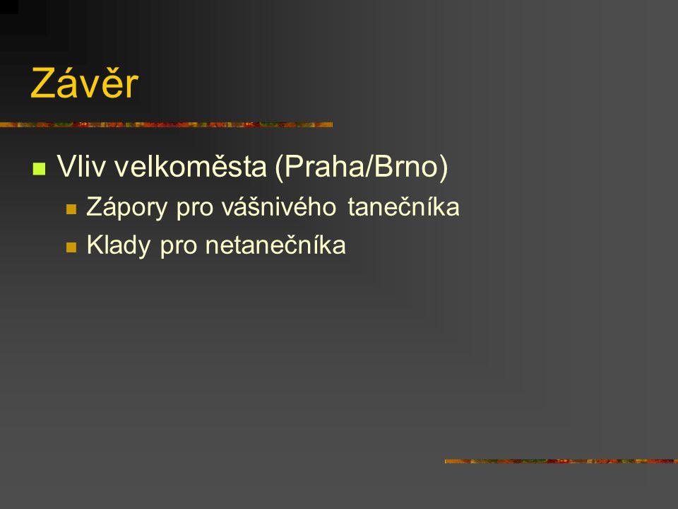 Závěr Vliv velkoměsta (Praha/Brno) Zápory pro vášnivého tanečníka Klady pro netanečníka