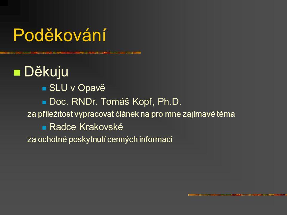 Poděkování Děkuju SLU v Opavě Doc.RNDr. Tomáš Kopf, Ph.D.