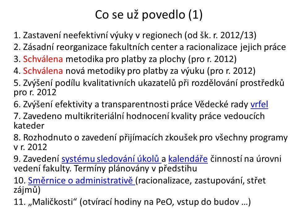 Co se už povedlo (1) 1. Zastavení neefektivní výuky v regionech (od šk.