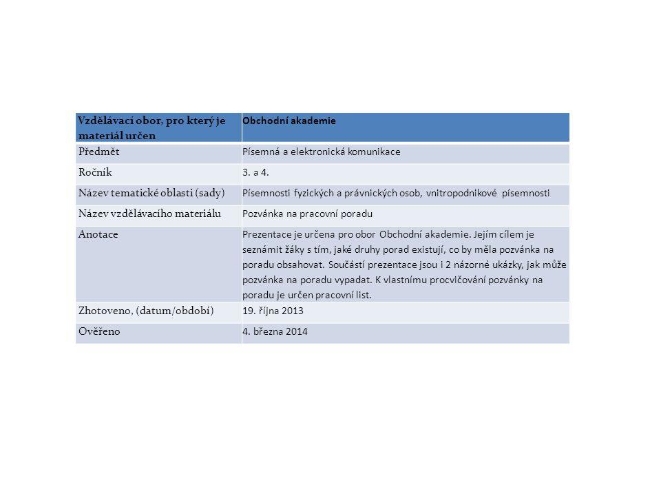 Vzdělávací obor, pro který je materiál určen Obchodní akademie PředmětPísemná a elektronická komunikace Ročník3. a 4. Název tematické oblasti (sady)Pí