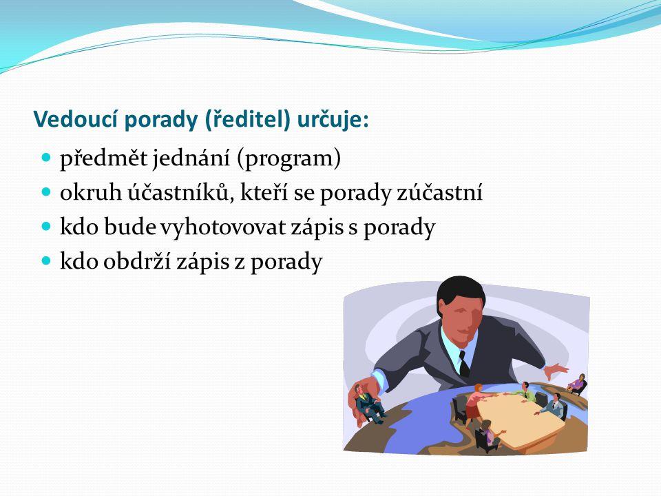 Vedoucí porady (ředitel) určuje: předmět jednání (program) okruh účastníků, kteří se porady zúčastní kdo bude vyhotovovat zápis s porady kdo obdrží zápis z porady