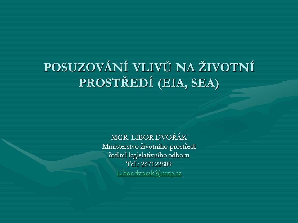 Právní úprava a praxe v oblasti posuzování vlivů na životní prostředí (EIA, SEA) Směrnice 2001/42/ES ObecněObecně –SEA během přípravy PP a před jejich přijetím/předáním do legislativního procesu –Začlenění do stávajících procesů pro přijetí PP vs.