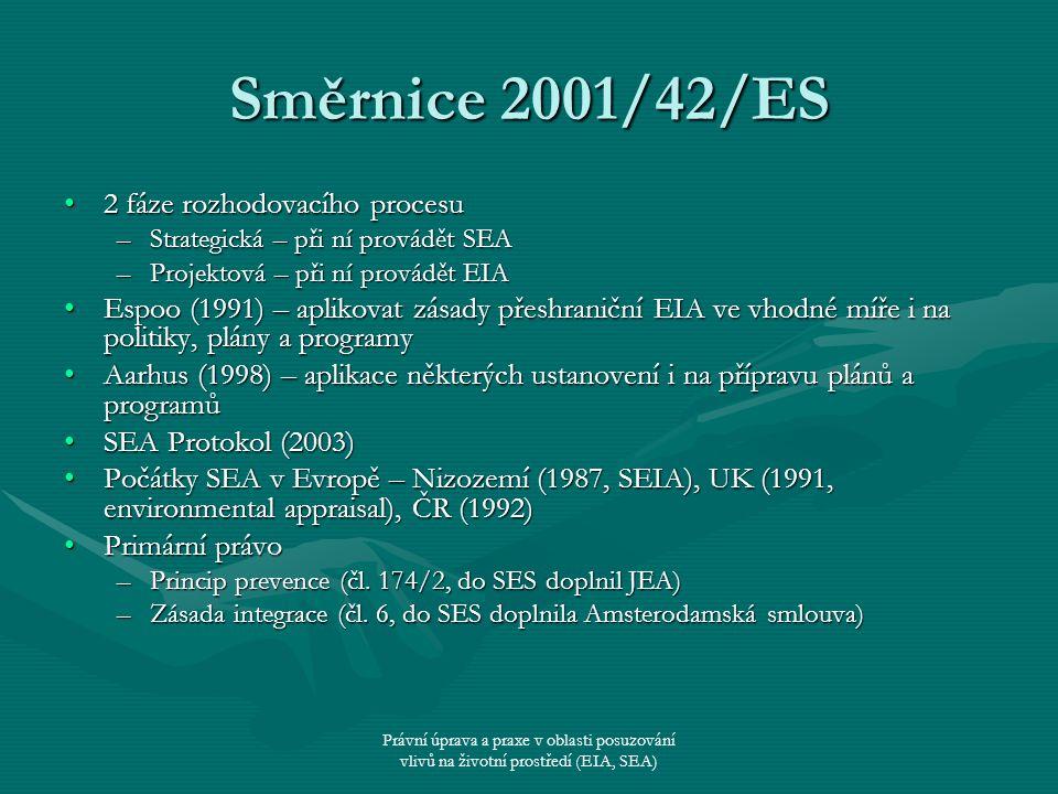 Právní úprava a praxe v oblasti posuzování vlivů na životní prostředí (EIA, SEA) Směrnice 2001/42/ES 2 fáze rozhodovacího procesu2 fáze rozhodovacího