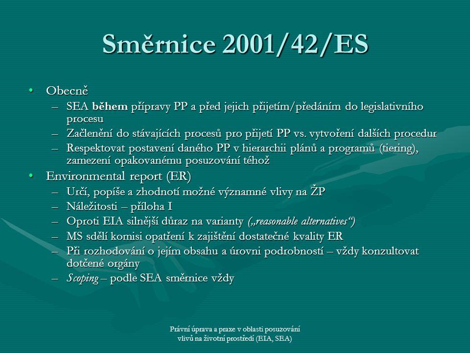 Právní úprava a praxe v oblasti posuzování vlivů na životní prostředí (EIA, SEA) Směrnice 2001/42/ES ObecněObecně –SEA během přípravy PP a před jejich