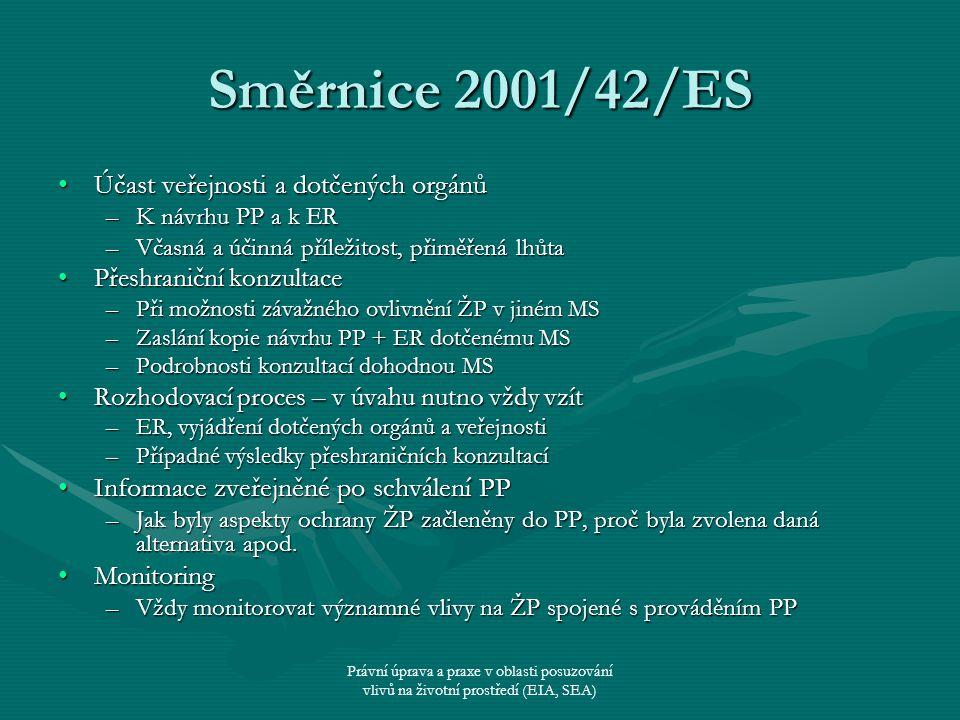 Právní úprava a praxe v oblasti posuzování vlivů na životní prostředí (EIA, SEA) Směrnice 2001/42/ES Účast veřejnosti a dotčených orgánůÚčast veřejnos
