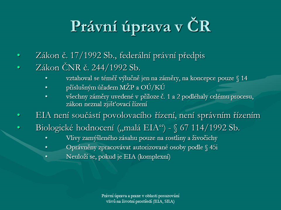 Právní úprava a praxe v oblasti posuzování vlivů na životní prostředí (EIA, SEA) Právní úprava v ČR Zákon č. 17/1992 Sb., federální právní předpisZáko