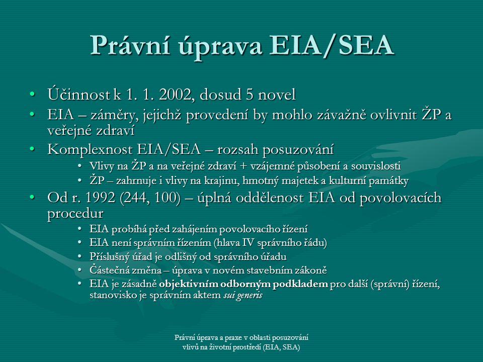 Právní úprava a praxe v oblasti posuzování vlivů na životní prostředí (EIA, SEA) Právní úprava EIA/SEA Účinnost k 1. 1. 2002, dosud 5 novelÚčinnost k