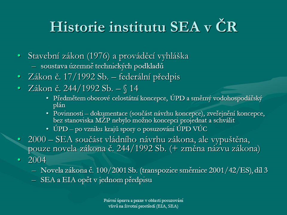 Právní úprava a praxe v oblasti posuzování vlivů na životní prostředí (EIA, SEA) Historie institutu SEA v ČR Stavební zákon (1976) a prováděcí vyhlášk
