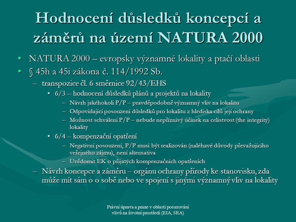 Právní úprava a praxe v oblasti posuzování vlivů na životní prostředí (EIA, SEA) Hodnocení důsledků koncepcí a záměrů na území NATURA 2000 NATURA 2000