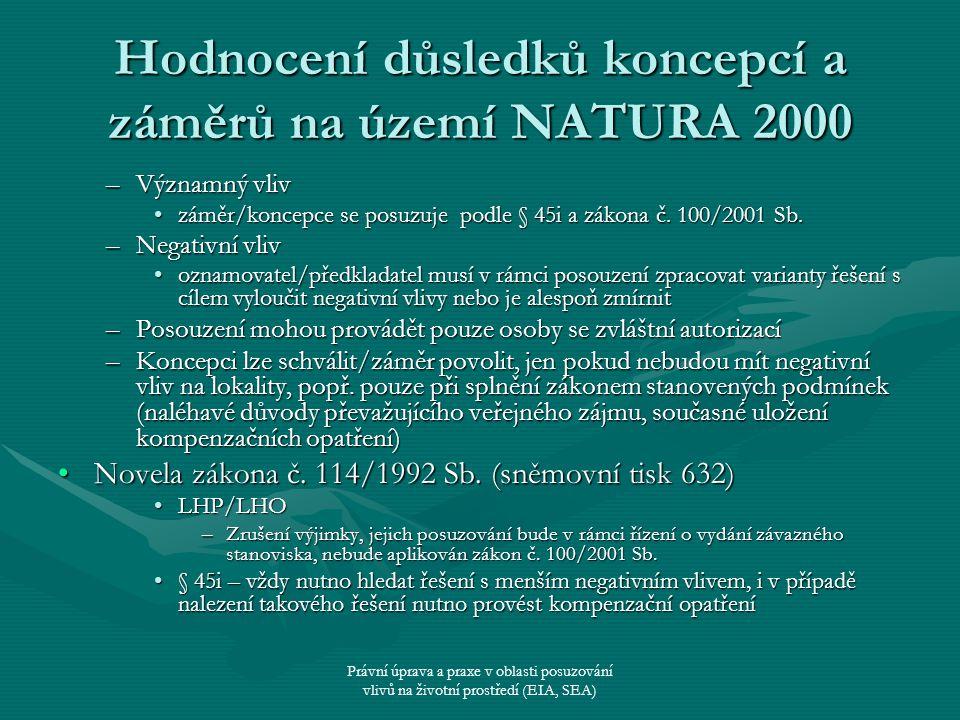 Právní úprava a praxe v oblasti posuzování vlivů na životní prostředí (EIA, SEA) Hodnocení důsledků koncepcí a záměrů na území NATURA 2000 –Významný v