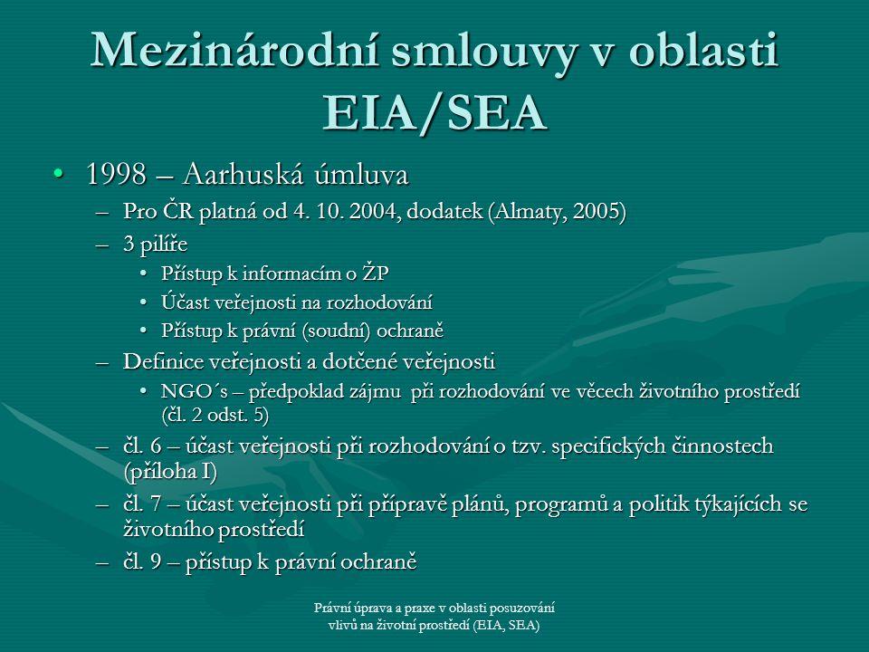 Právní úprava a praxe v oblasti posuzování vlivů na životní prostředí (EIA, SEA) Mezinárodní smlouvy v oblasti EIA/SEA 1998 – Aarhuská úmluva1998 – Aa