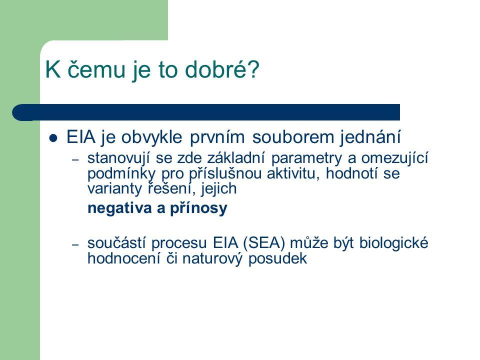 EIA je obvykle prvním souborem jednání – stanovují se zde základní parametry a omezující podmínky pro příslušnou aktivitu, hodnotí se varianty řešení, jejich negativa a přínosy – součástí procesu EIA (SEA) může být biologické hodnocení či naturový posudek K čemu je to dobré?