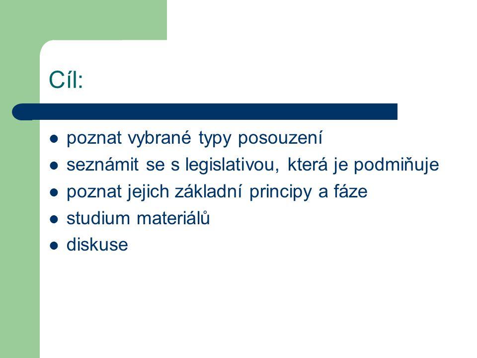 Cíl: poznat vybrané typy posouzení seznámit se s legislativou, která je podmiňuje poznat jejich základní principy a fáze studium materiálů diskuse