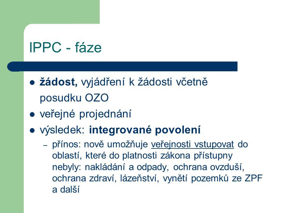 IPPC - fáze žádost, vyjádření k žádosti včetně posudku OZO veřejné projednání výsledek: integrované povolení – přínos: nově umožňuje veřejnosti vstupo