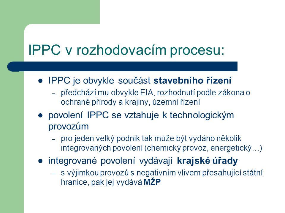 IPPC v rozhodovacím procesu: IPPC je obvykle součást stavebního řízení – předchází mu obvykle EIA, rozhodnutí podle zákona o ochraně přírody a krajiny, územní řízení povolení IPPC se vztahuje k technologickým provozům – pro jeden velký podnik tak může být vydáno několik integrovaných povolení (chemický provoz, energetický…) integrované povolení vydávají krajské úřady – s výjimkou provozů s negativním vlivem přesahující státní hranice, pak jej vydává MŽP