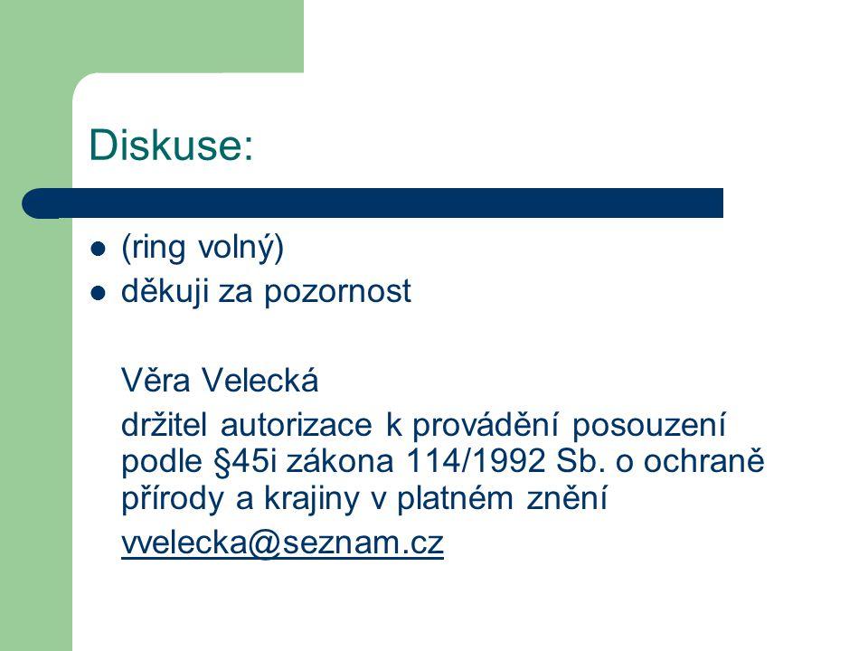 Diskuse: (ring volný) děkuji za pozornost Věra Velecká držitel autorizace k provádění posouzení podle §45i zákona 114/1992 Sb. o ochraně přírody a kra