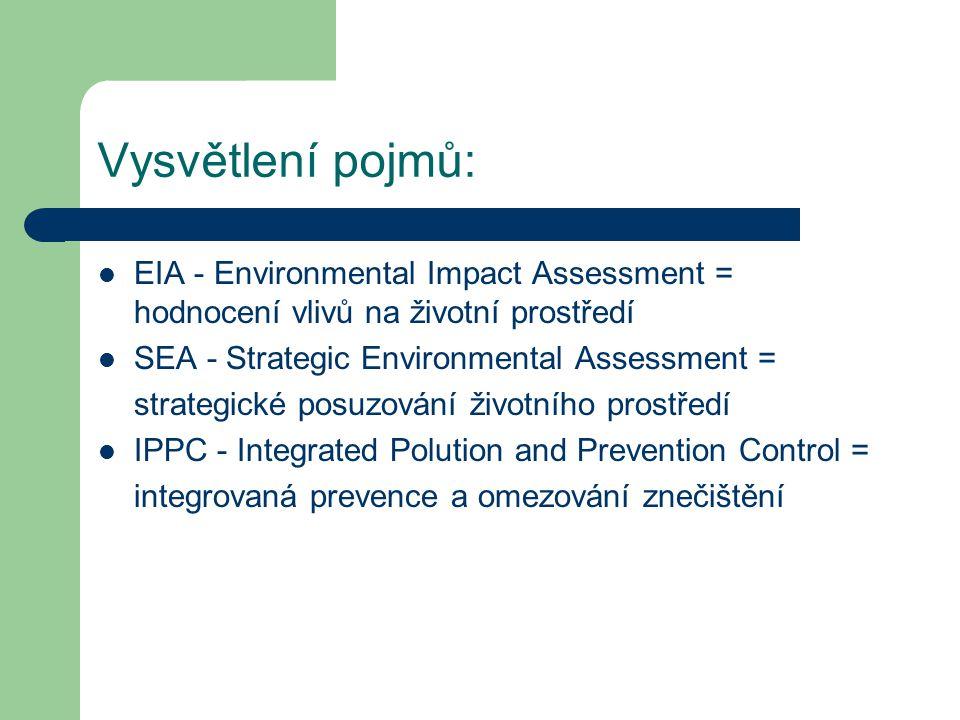 Vysvětlení pojmů: EIA - Environmental Impact Assessment = hodnocení vlivů na životní prostředí SEA - Strategic Environmental Assessment = strategické posuzování životního prostředí IPPC - Integrated Polution and Prevention Control = integrovaná prevence a omezování znečištění