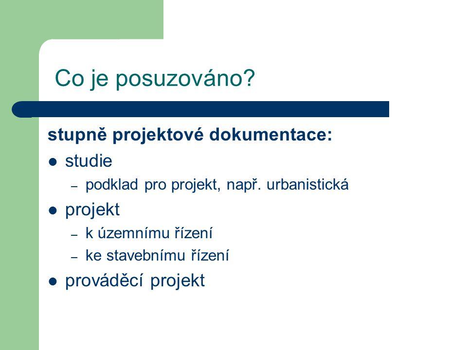 Co je posuzováno? stupně projektové dokumentace: studie – podklad pro projekt, např. urbanistická projekt – k územnímu řízení – ke stavebnímu řízení p