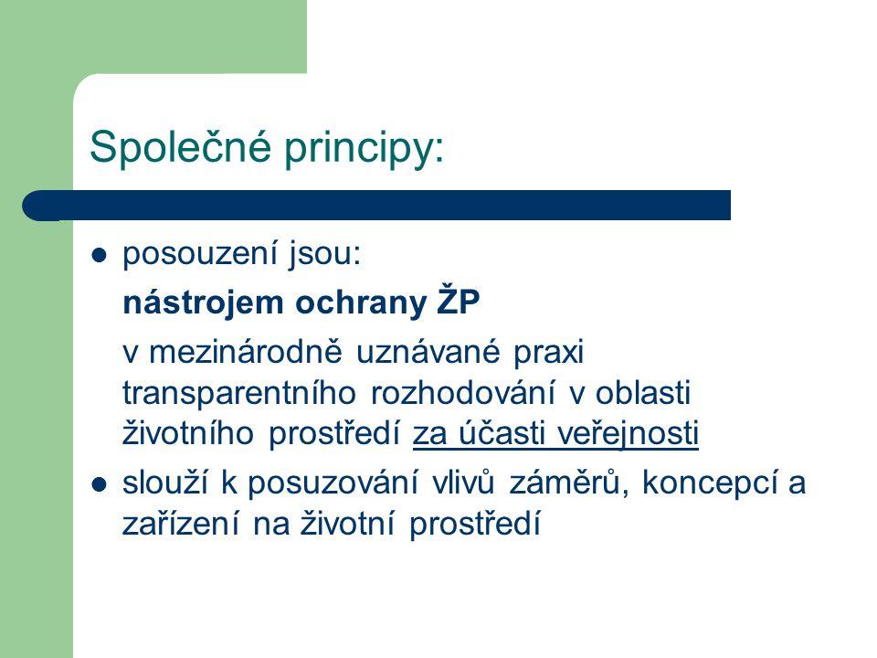 Společné principy: posouzení jsou: nástrojem ochrany ŽP v mezinárodně uznávané praxi transparentního rozhodování v oblasti životního prostředí za účasti veřejnosti slouží k posuzování vlivů záměrů, koncepcí a zařízení na životní prostředí