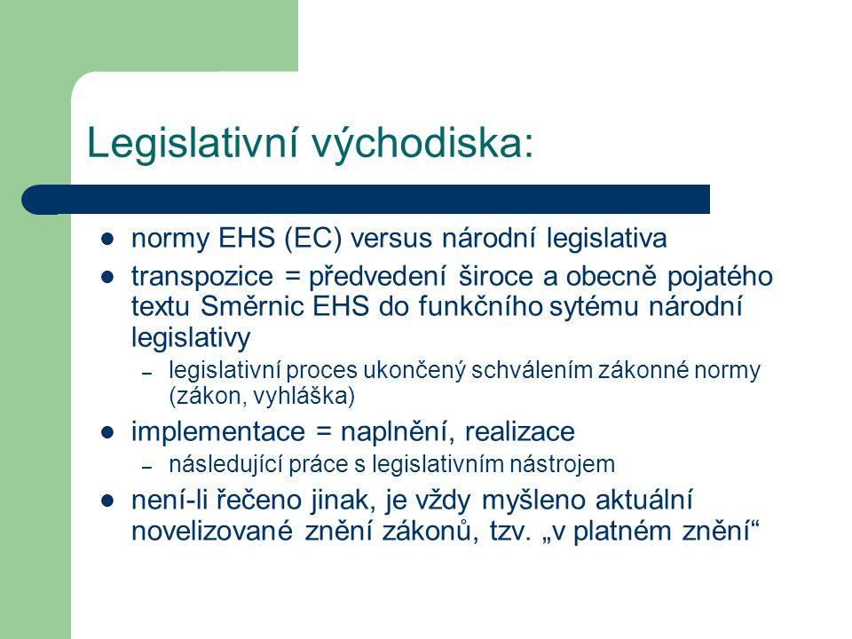 Legislativní východiska: normy EHS (EC) versus národní legislativa transpozice = předvedení široce a obecně pojatého textu Směrnic EHS do funkčního sytému národní legislativy – legislativní proces ukončený schválením zákonné normy (zákon, vyhláška) implementace = naplnění, realizace – následující práce s legislativním nástrojem není-li řečeno jinak, je vždy myšleno aktuální novelizované znění zákonů, tzv.