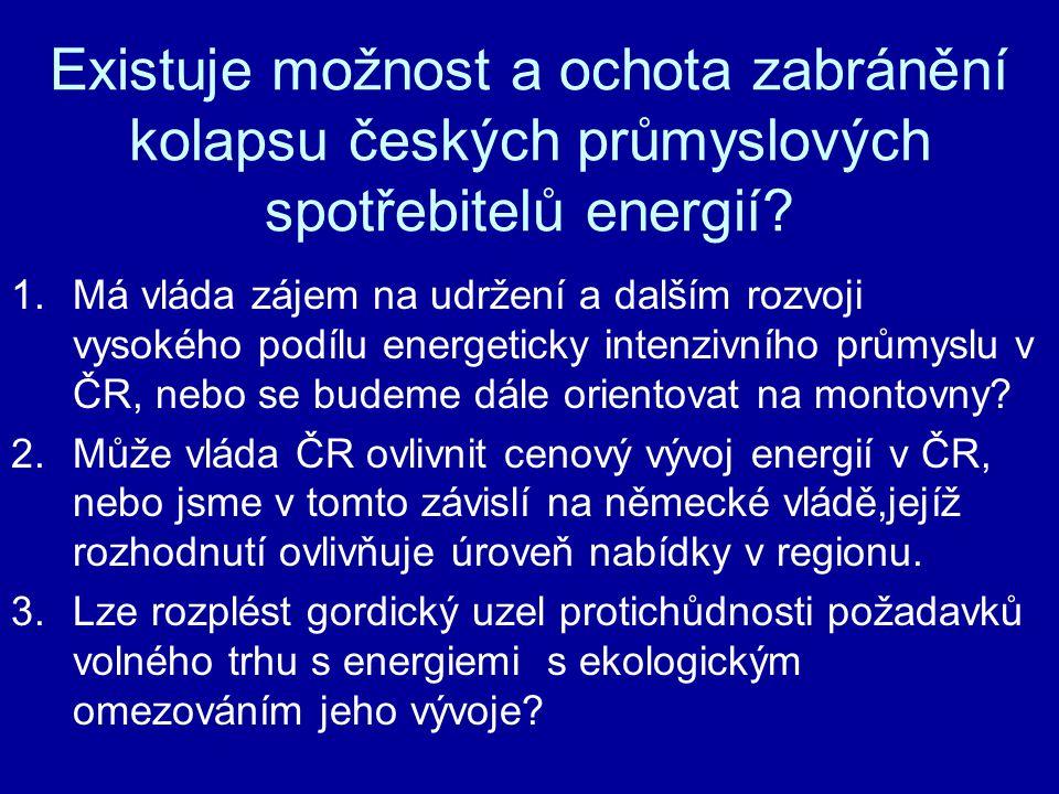 Existuje možnost a ochota zabránění kolapsu českých průmyslových spotřebitelů energií? 1.Má vláda zájem na udržení a dalším rozvoji vysokého podílu en
