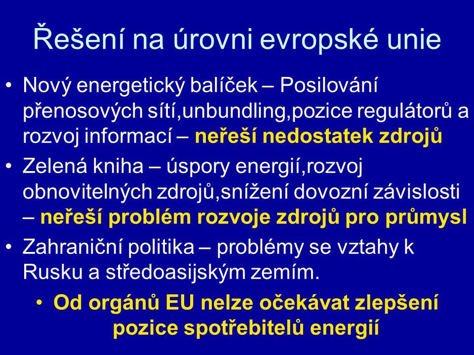 Řešení na úrovni evropské unie Nový energetický balíček – Posilování přenosových sítí,unbundling,pozice regulátorů a rozvoj informací – neřeší nedostatek zdrojů Zelená kniha – úspory energií,rozvoj obnovitelných zdrojů,snížení dovozní závislosti – neřeší problém rozvoje zdrojů pro průmysl Zahraniční politika – problémy se vztahy k Rusku a středoasijským zemím.