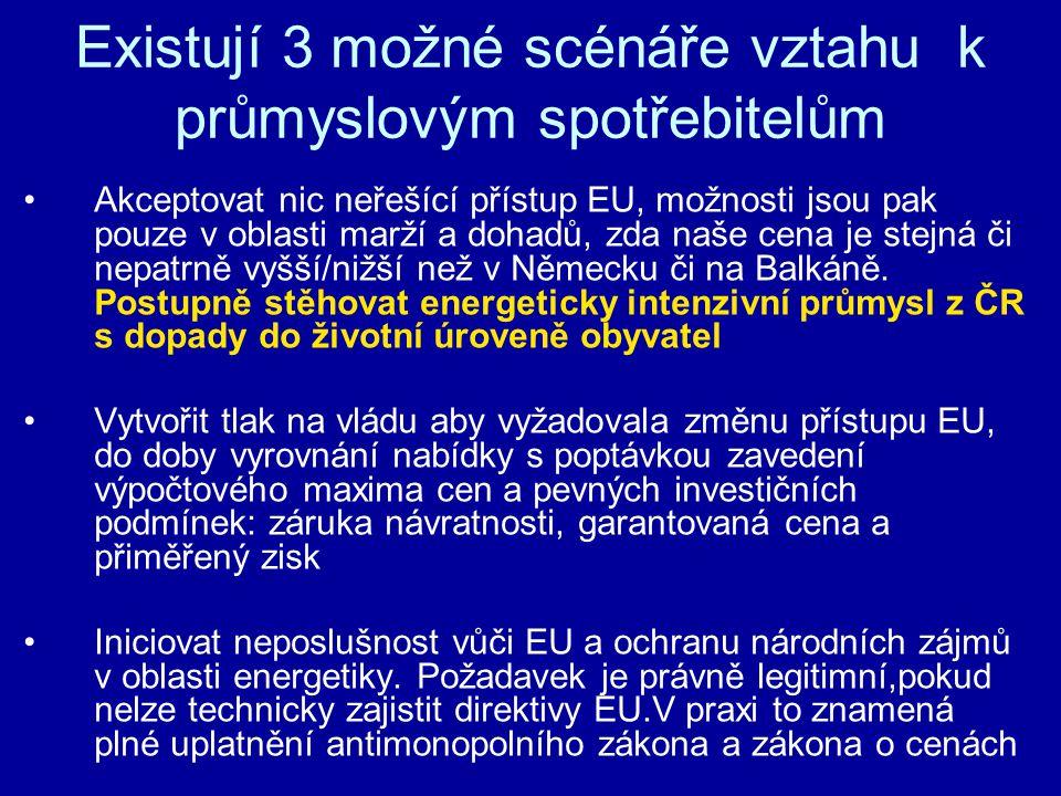 Existují 3 možné scénáře vztahu k průmyslovým spotřebitelům Akceptovat nic neřešící přístup EU, možnosti jsou pak pouze v oblasti marží a dohadů, zda