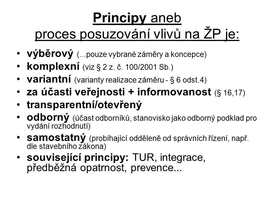 Principy aneb proces posuzování vlivů na ŽP je: výběrový (...pouze vybrané záměry a koncepce) komplexní (viz § 2 z.